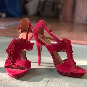 Red suede stilettos size 39